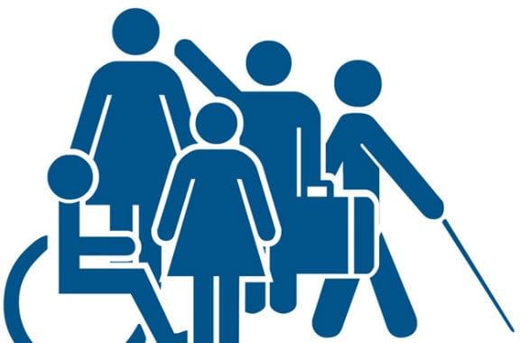 grafico donde se ven pictograna de silla de ruedas, un hombre con maleta, una mujer y un hombre con baston